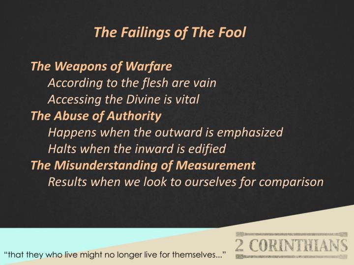 The Failings of The Fool