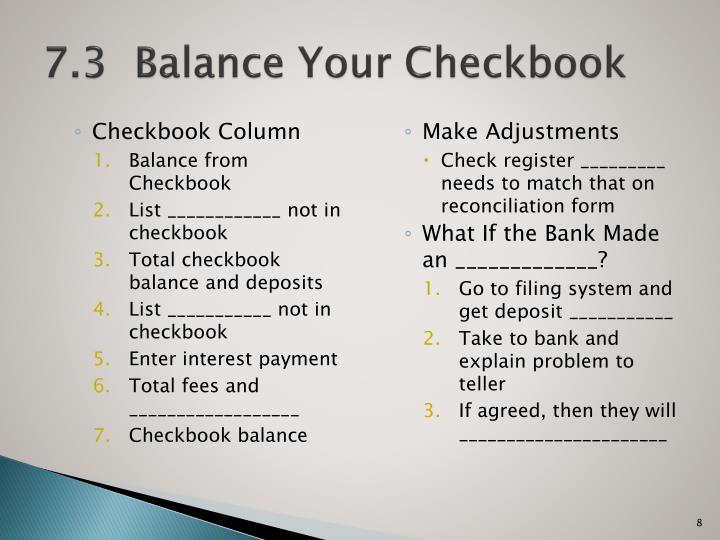 7.3  Balance Your Checkbook