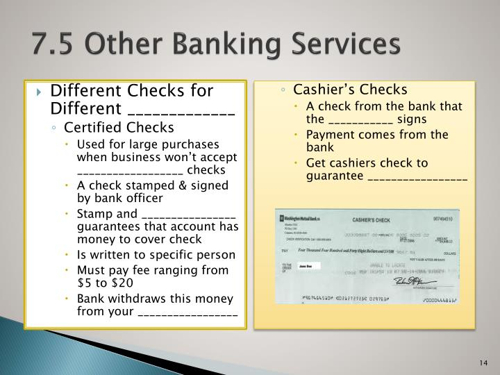 7.5 Other Banking Services