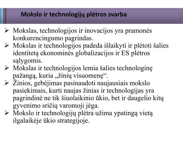 Mokslo ir technologijų plėtros svarba
