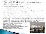 second workshop 23 24 june 2014 melbourne