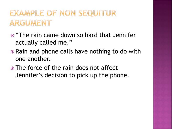 Example of Non Sequitur Argument