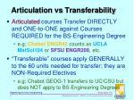 articulation vs transferability