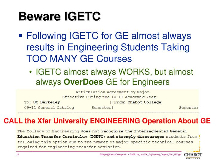 Beware IGETC