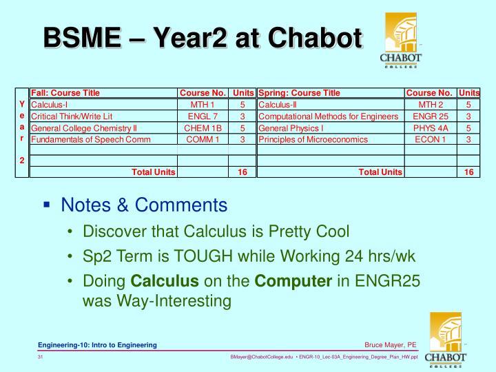BSME – Year2 at Chabot