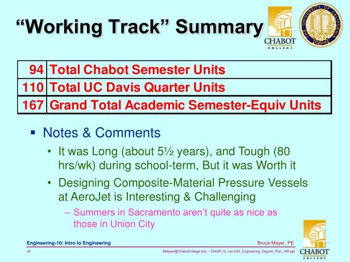 """Working Track"" Summary"