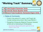 working track summary