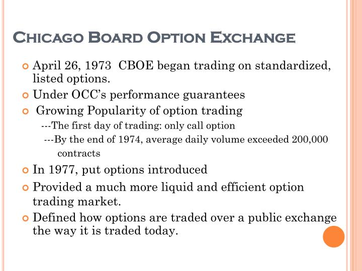 Chicago Board Option Exchange