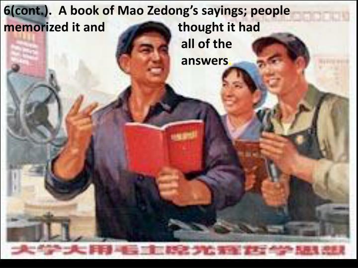 6(cont.).  A book of Mao