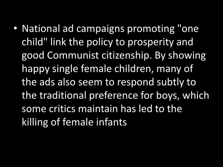"National ad campaigns promoting ""one"