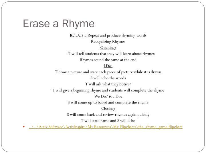 Erase a Rhyme