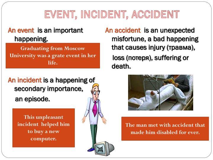 EVENT, INCIDENT, ACCIDENT