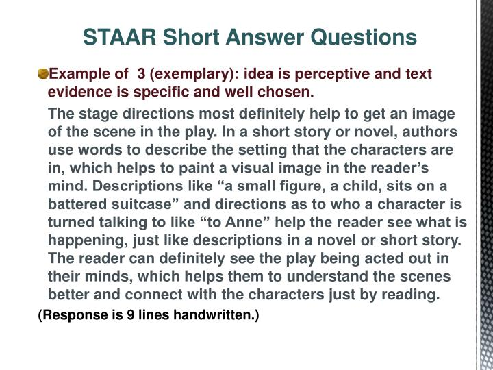 STAAR Short Answer Questions