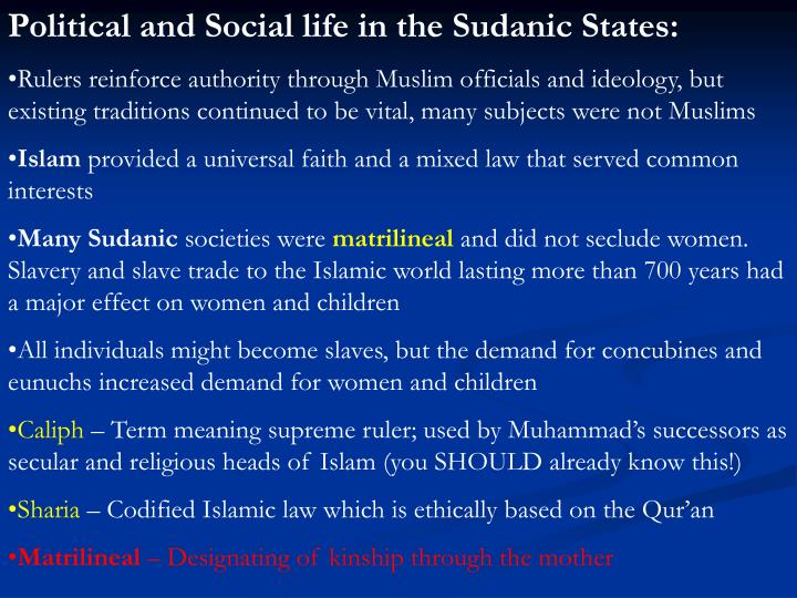 Political and Social life in the Sudanic States: