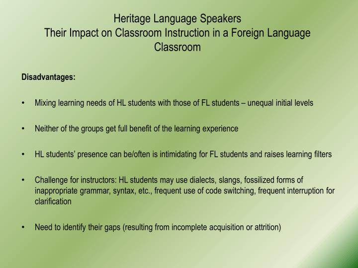 Heritage Language Speakers