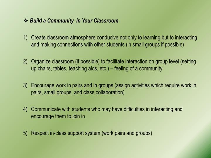 Build a Community  in Your Classroom