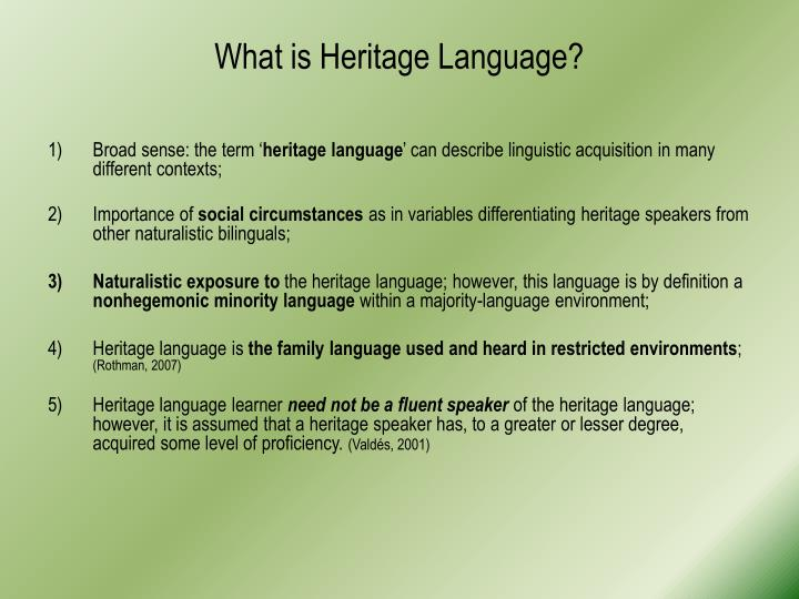 What is Heritage Language?