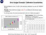error budget example calibration uncertainties