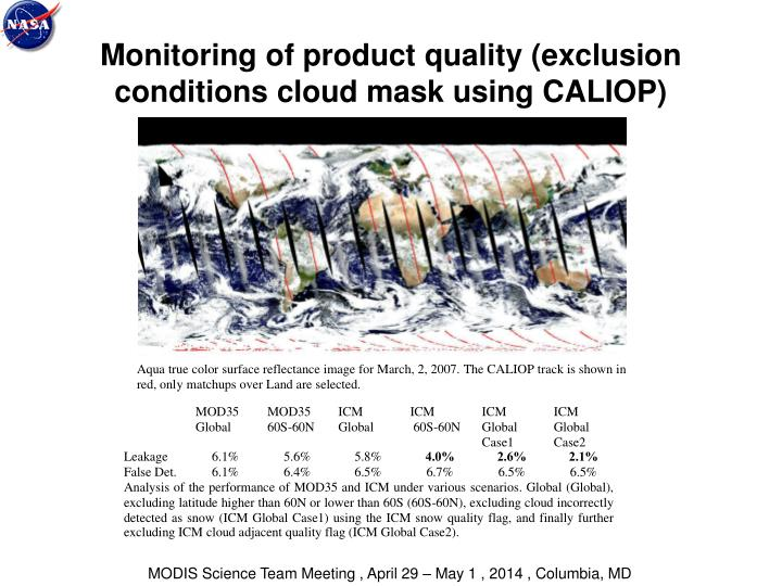 Monitoring of product quality (exclusion conditions cloud