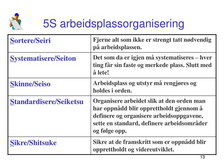 5S arbeidsplassorganisering