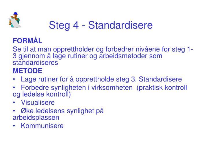 Steg 4 - Standardisere