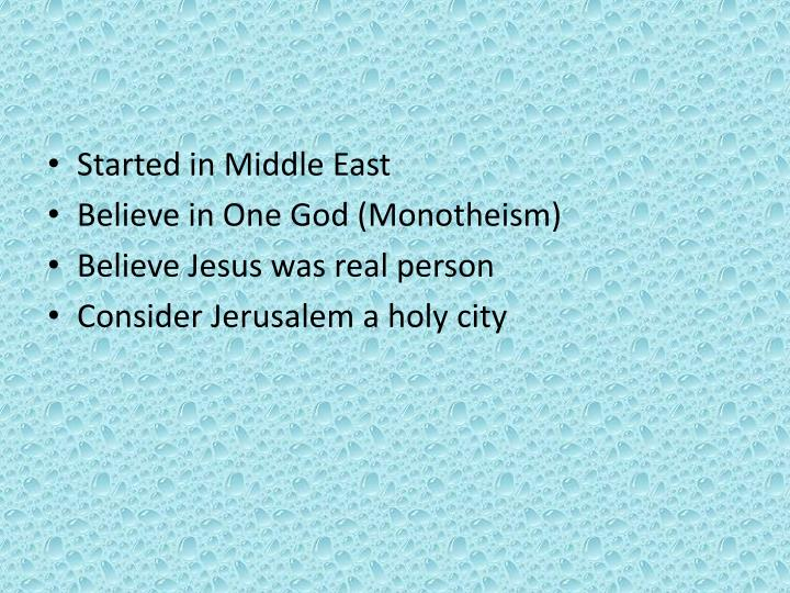 Started in Middle East