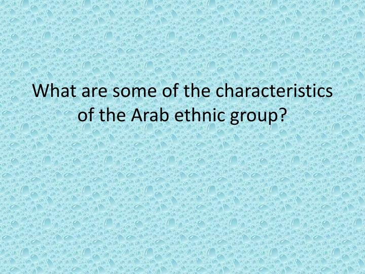 What are some of the characteristics of the Arab ethnic group?