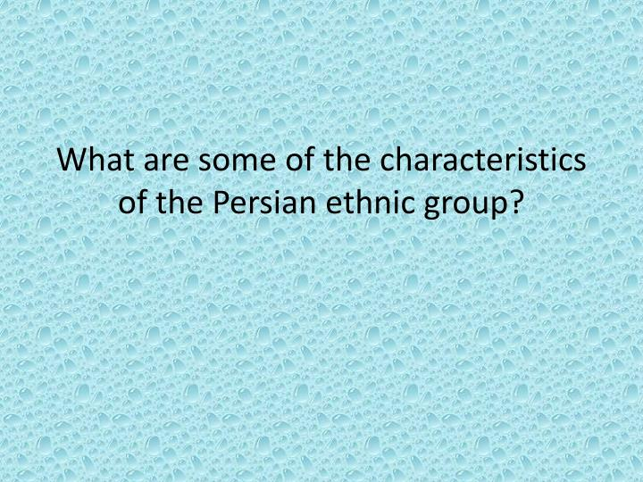 What are some of the characteristics of the Persian ethnic group?