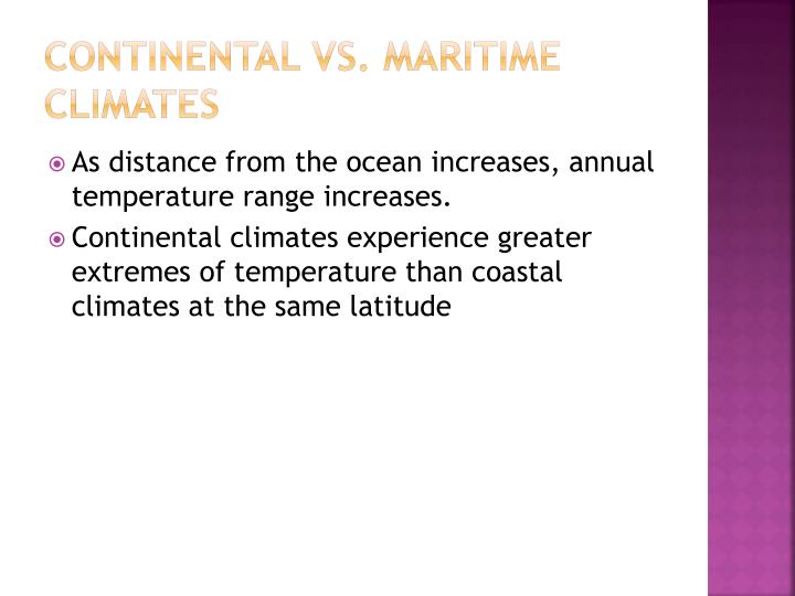 Continental vs. Maritime Climates