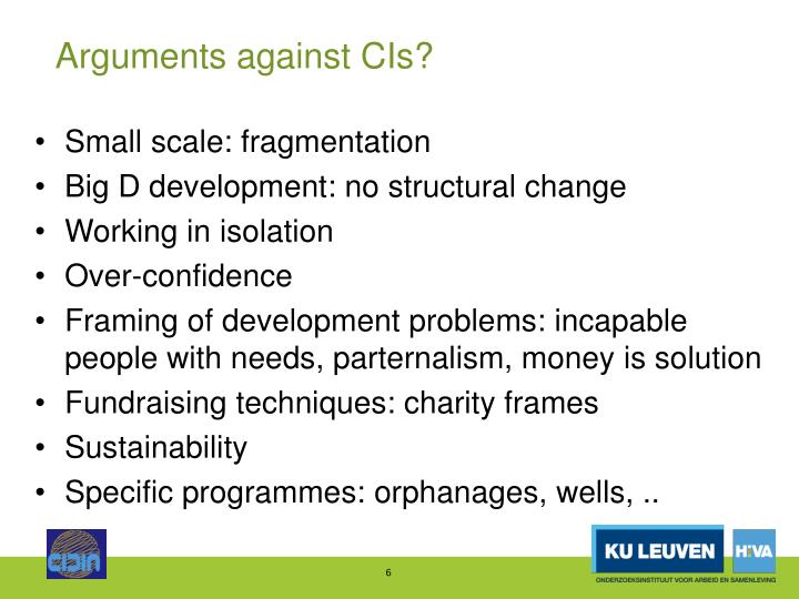 Arguments against CIs?