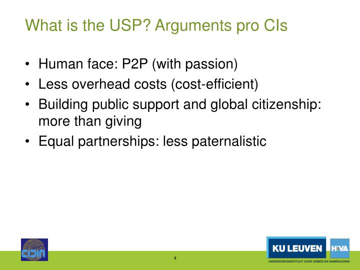 What is the USP? Arguments pro