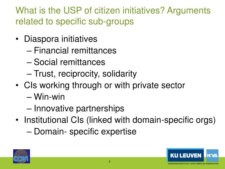 What is the usp of citizen initiatives arguments related to specific sub groups