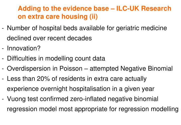 Adding to the evidence base – ILC-UK Research on extra care housing (ii)