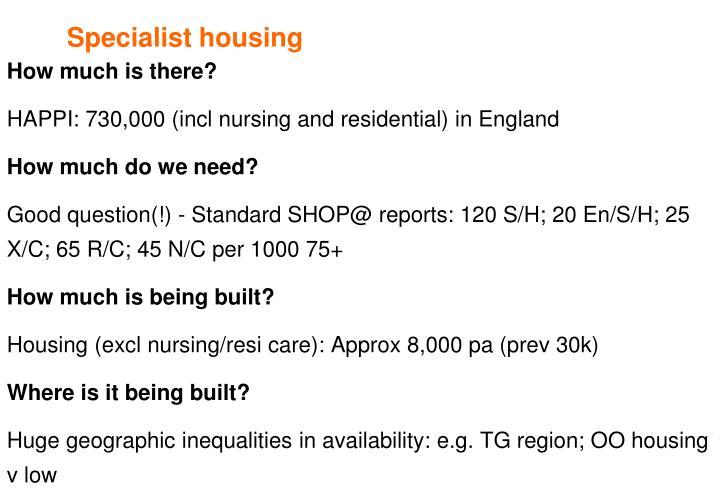 Specialist housing