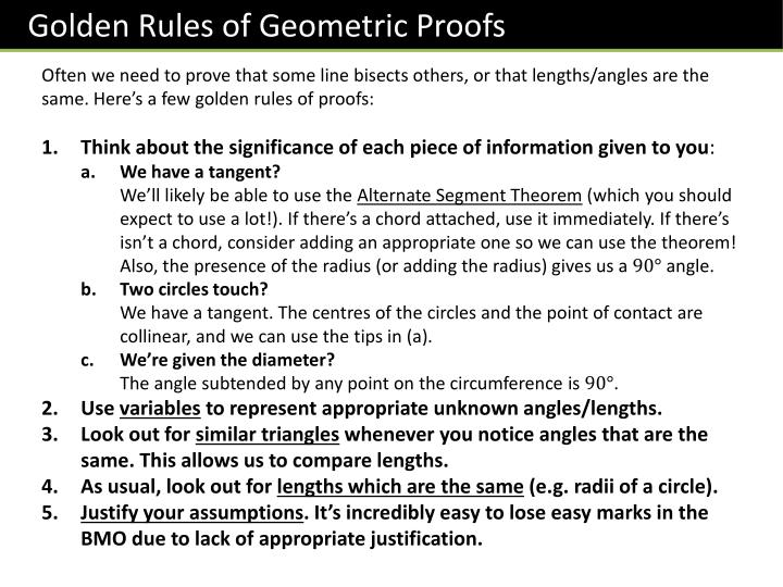 Golden Rules of Geometric Proofs