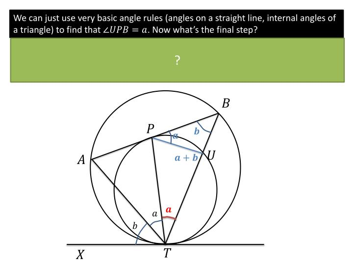 We can just use very basic angle rules (angles on a straight line, internal angles of a triangle) to find that
