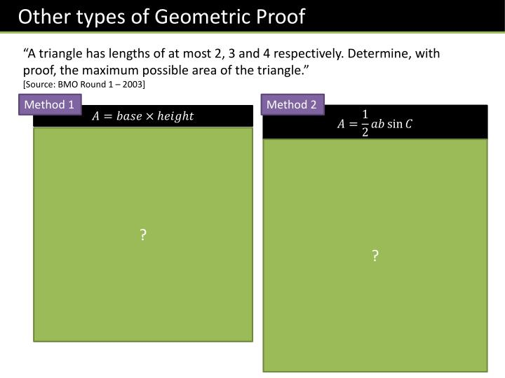 Other types of Geometric Proof