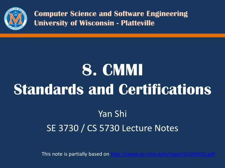 8 cmmi standards and certifications