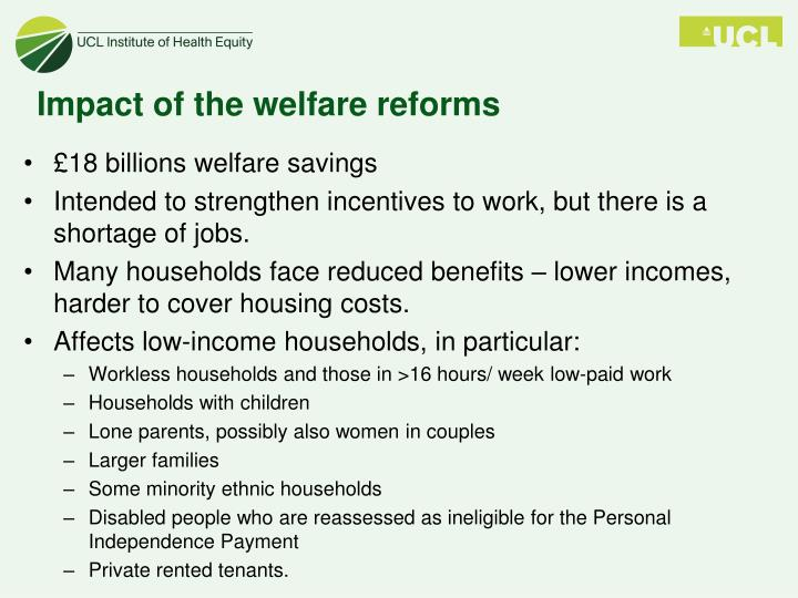 Impact of the welfare reforms