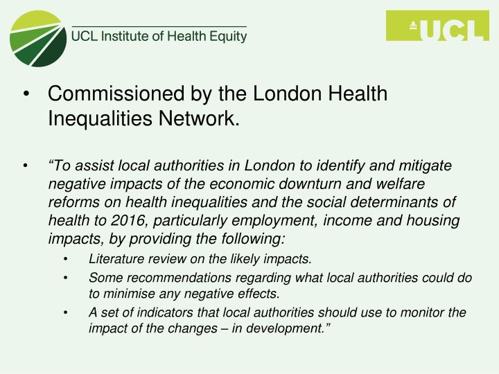Commissioned by the London Health Inequalities Network.