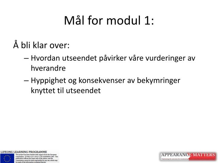 Mål for modul 1: