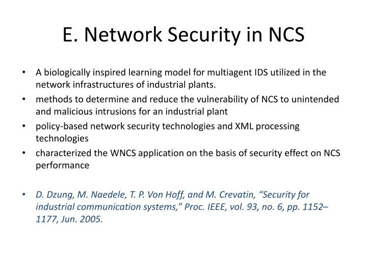 E. Network Security in NCS