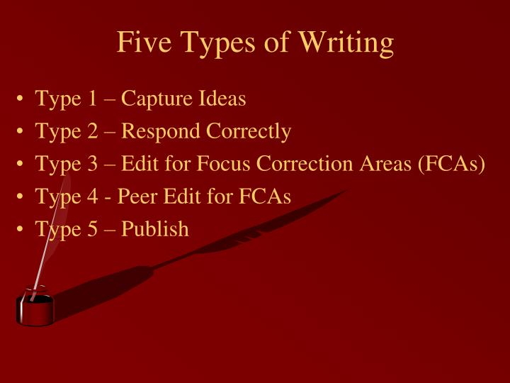 Five types of writing