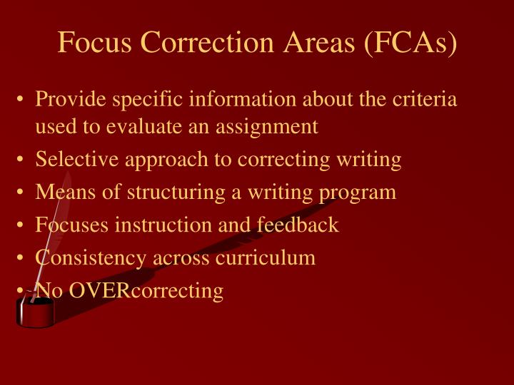 Focus Correction Areas (FCAs)
