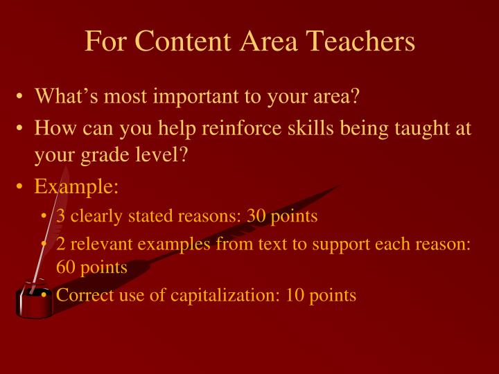 For Content Area Teachers