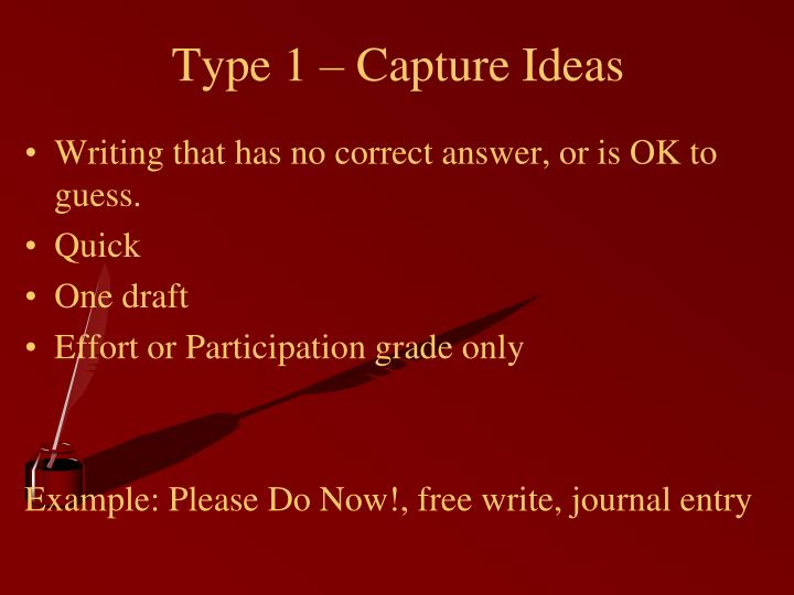 Type 1 – Capture Ideas