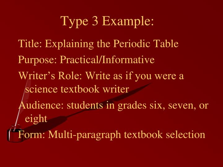Type 3 Example: