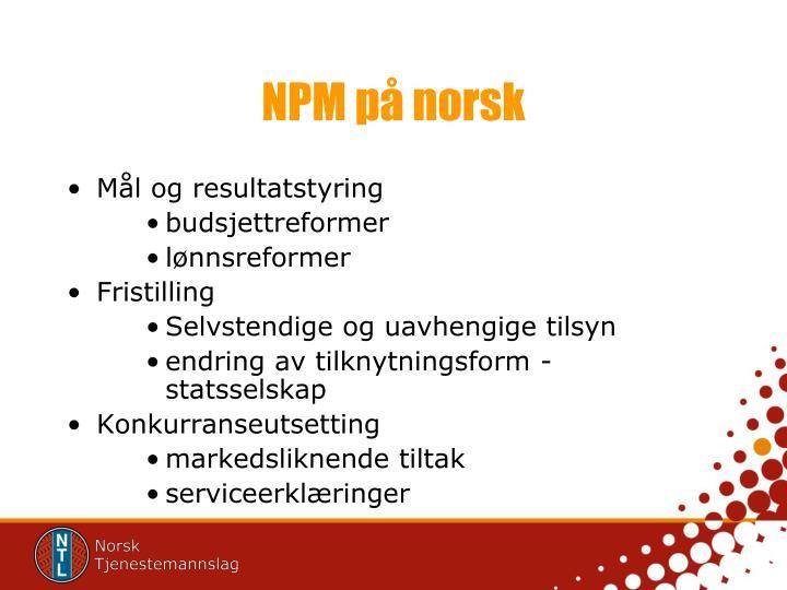 NPM på norsk