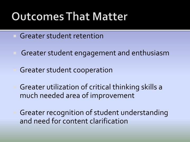 Outcomes That Matter