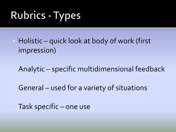Rubrics - Types